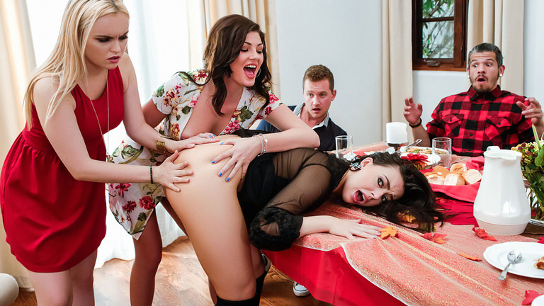 Jessica Rex and River Fox with Whitney Wright in Thanksgiving Dinner Sluts